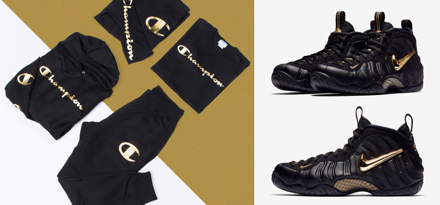 "9b0d30524f145 Champion Metallic Gold Collection to Match the Nike Air Foamposite Pro "" Black Metallic Gold"""
