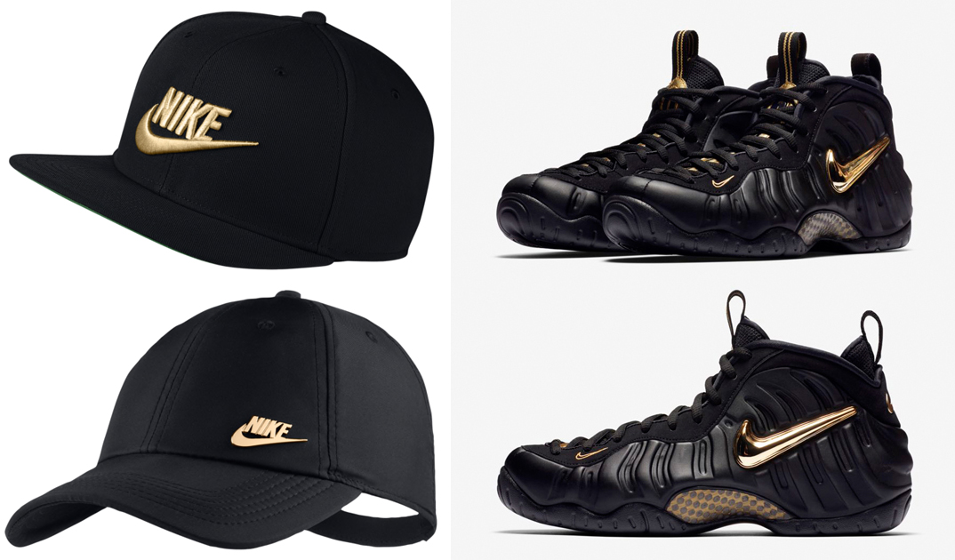 "Nike Sportswear Caps to Match the Nike Air Foamposite Pro ""Black Metallic  Gold"" 4a98bce66a98"