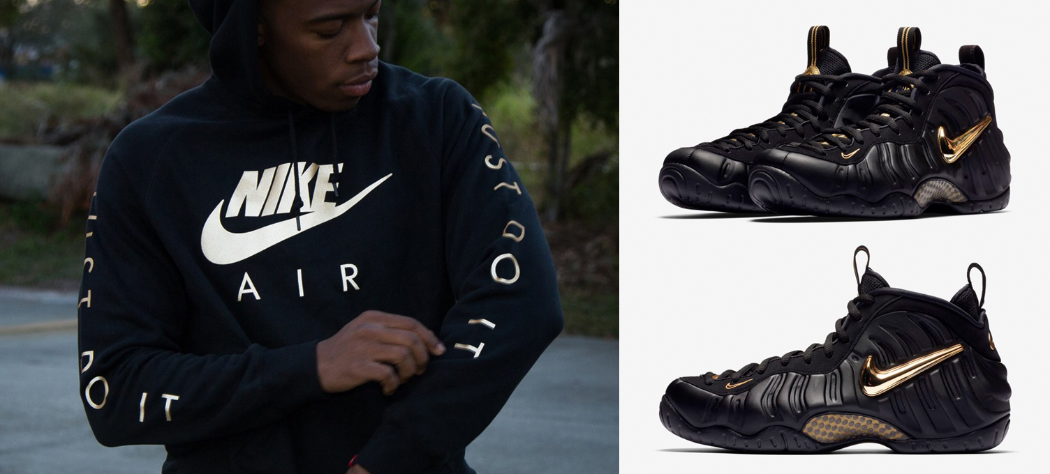 "465632b2 Nike Hoodies to Match the Nike Air Foamposite Pro ""Black/Metallic Gold"""