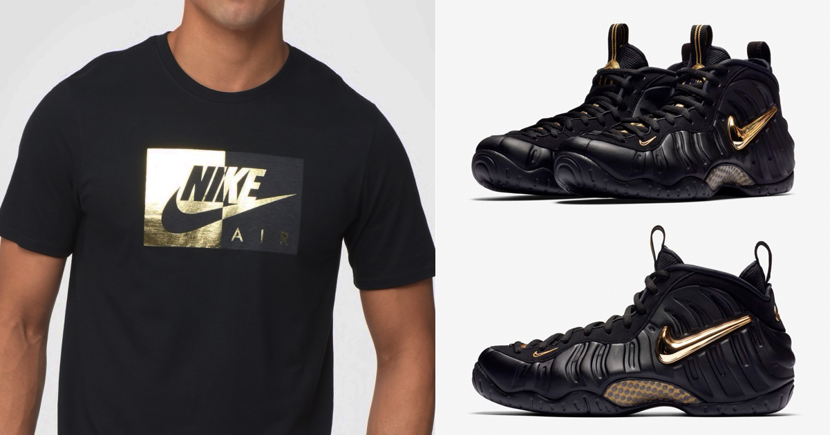 "01605816fe43e Nike T-Shirts to Match the Nike Air Foamposite Pro ""Black/Metallic Gold"""