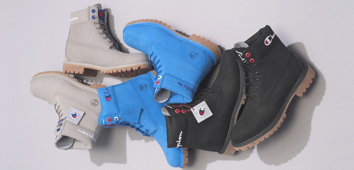 outlet on sale retail prices attractive & durable Champion Timberland Boots Blue Black Grey Clothing Match ...
