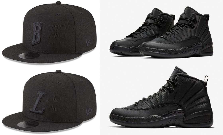 "c125a295bbf Air Jordan 12 ""Winterized"" x New Era NBA Alpha Triple Black 59FIFTY Fitted  Caps"