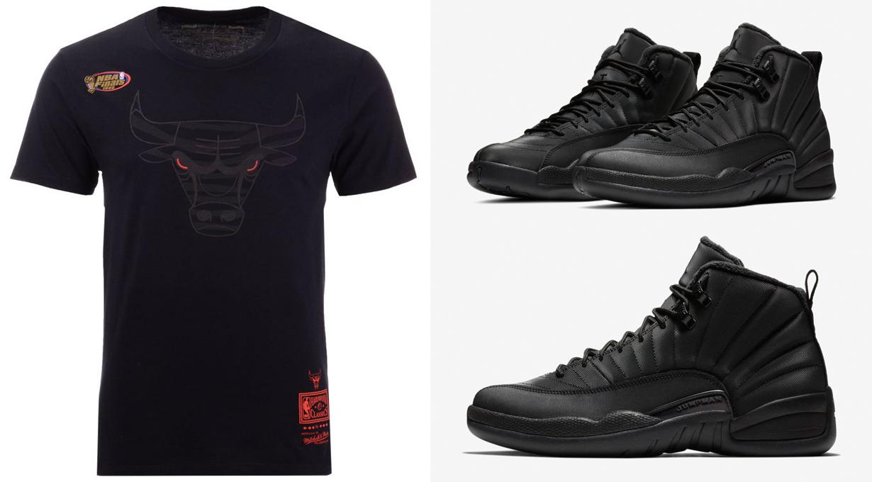 low priced c7462 84a76 Air Jordan 12 Winterized Bulls Blackout Shirt | SneakerFits.com