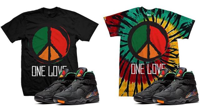 """Air Jordan 8 Tinker """"Air Raid"""" x Million Dolla Motive """"One Love Peace""""  Sneaker Tees 4a29355e4"""