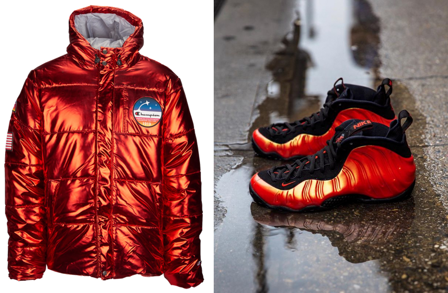 "ab1698f0d4d Champion Metallic Red Puffer Jacket to Match the Nike Air Foamposite One ""Habanero  Red"""