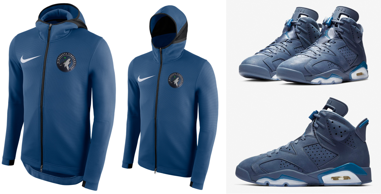 "4dad47c33bcc50 Air Jordan 6 ""Jimmy Butler   Diffused Blue"" x Nike Minnesota Timberwolves  NBA Showtime Hoodies"