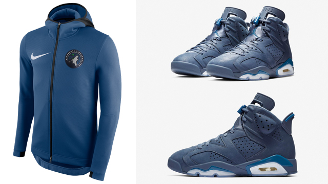 "69c4c7383a9e49 Air Jordan 6 ""Jimmy Butler   Diffused Blue"" x Nike Minnesota Timberwolves  NBA Showtime Hoodies"
