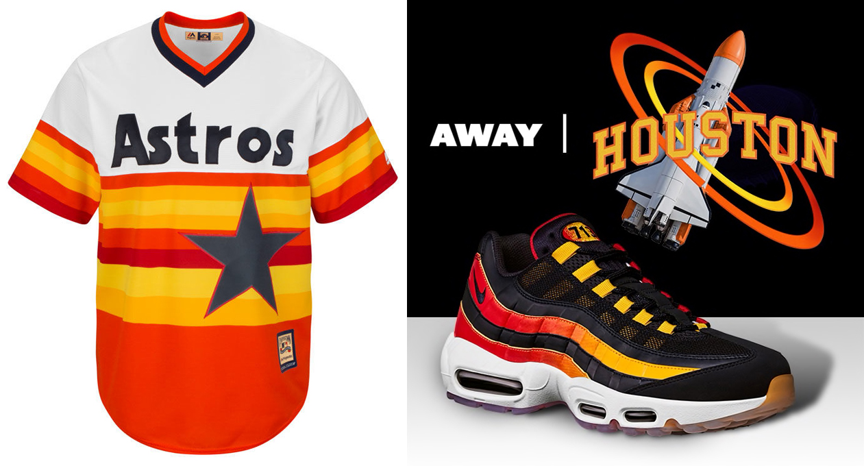 "210add25f9 Nike Air Max 95 ""Houston Away"" x Houston Astros Majestic MLB Cooperstown  Replica Jersey"