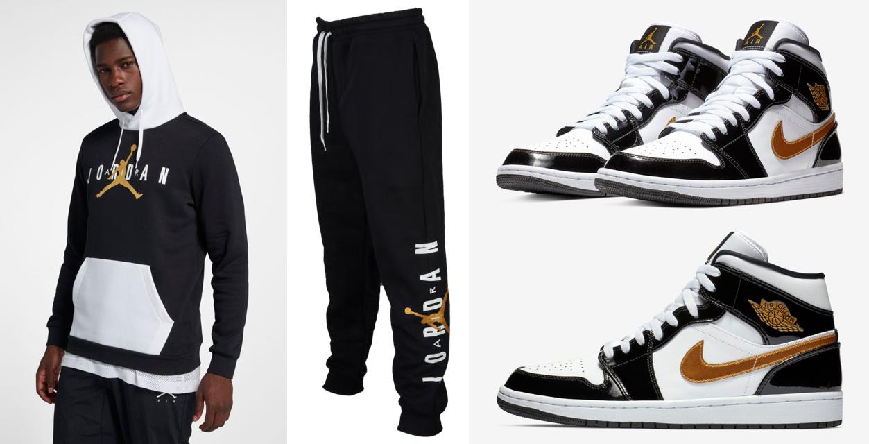 "6ef8cbd0b04 Air Jordan 1 Mid SE ""Black Gold"" Patent Leather x Jordan Jumpman Air Fleece  Hoodie and Pants"