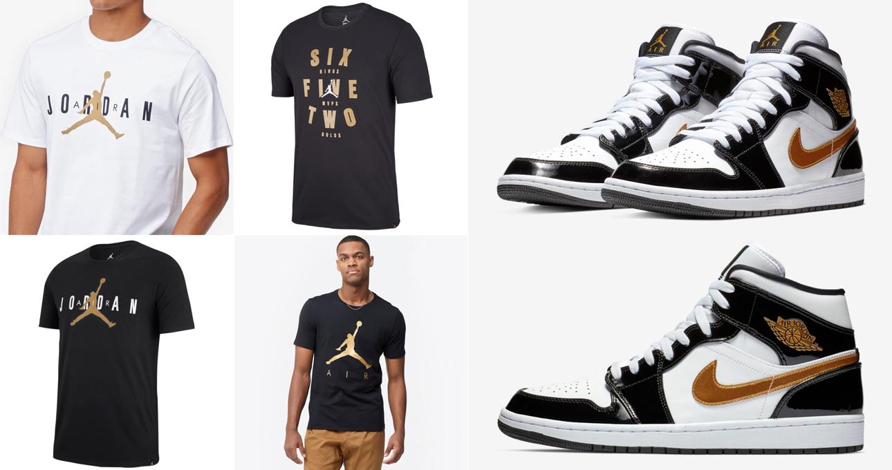 "size 40 3d70b 7cd26 Air Jordan 1 Mid SE ""Black Gold"" Patent Leather x Jordan Brand Metallic Gold  T-Shirts"