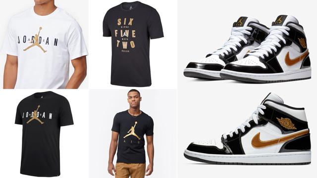 """0e9d39a4eb5 Air Jordan 1 Mid SE """"Black Gold"""" Patent Leather x Jordan Brand Metallic Gold  T-Shirts"""