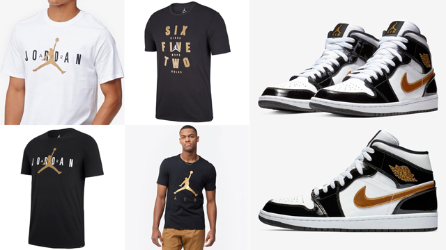 air-jordan-1-mid-black-gold-patent-tees-shirts