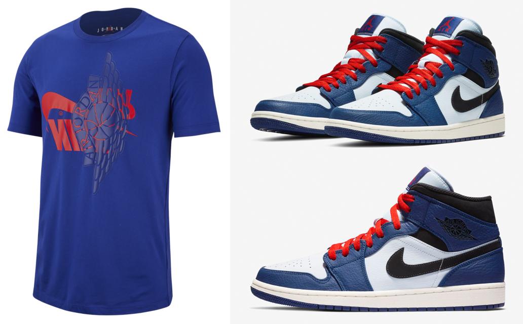 """7f1ae16f763c4f Air Jordan 1 Mid """"Deep Royal Blue"""" x Jordan Future Wings T-Shirt """"Deep  Royal Blue University Red"""""""