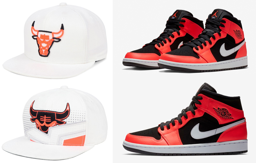 "f58fa38cd56 Air Jordan 1 Mid ""Infrared 23"" x Chicago Bulls Mitchell   Ness Infrared  Snapback Caps"