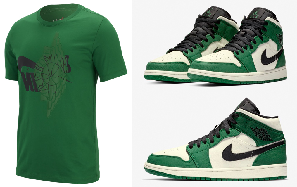 Air Jordan 1 Mid Pine Green Shirt Match  83d137806