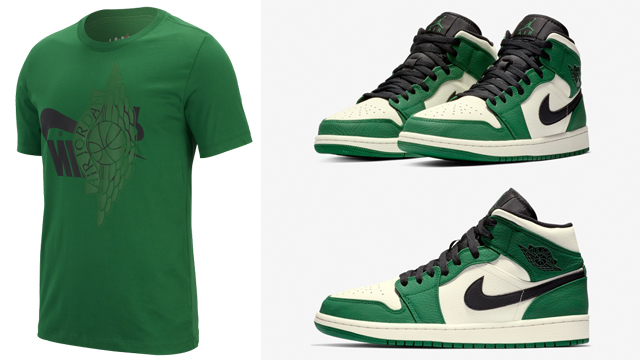 air-jordan-1-mid-pine-green-tee-shirt