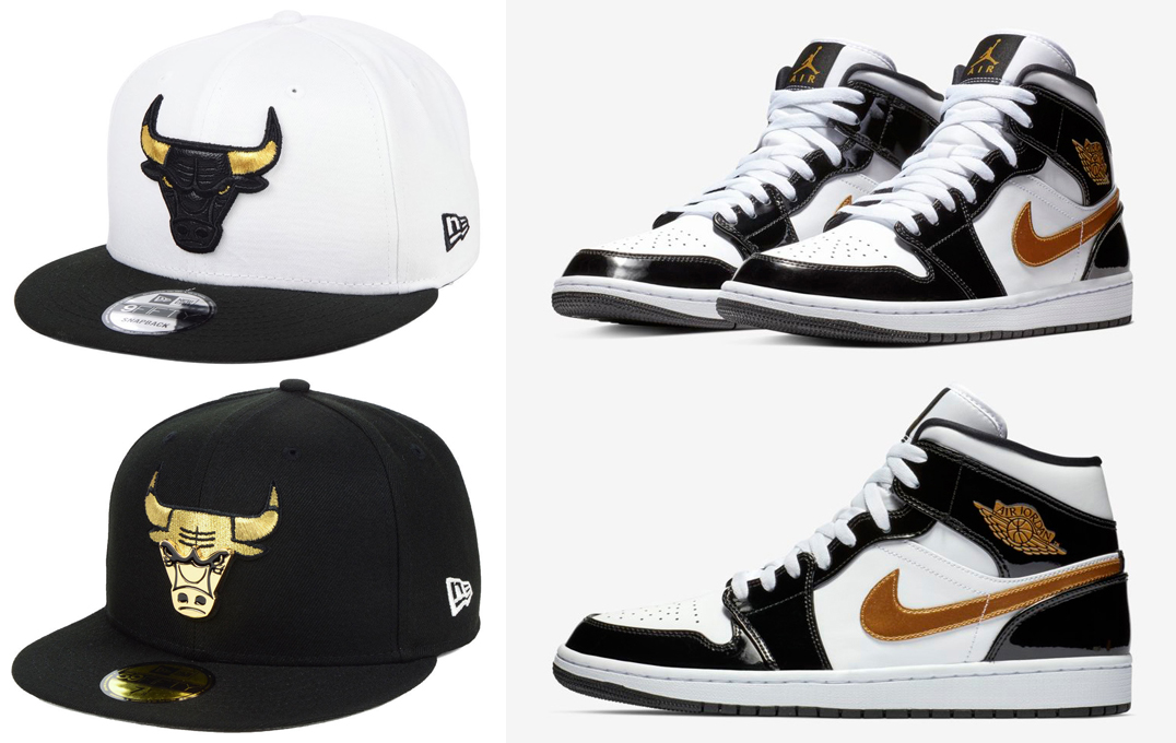 "2564e8d34e3 Air Jordan 1 Mid SE ""Black/Gold"" Patent Leather x Chicago Bulls New Era  Metallic Gold Hats"
