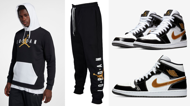 """0c6b7842416 Along with the Air Jordan 1 Mid SE """"Black Gold"""" Patent Leather kicks that  just dropped comes a look at the Jordan Jumpman Air Fleece Hoodie and Pants  in ..."""