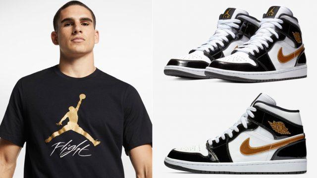 jordan-1-mid-black-gold-patent-shirt
