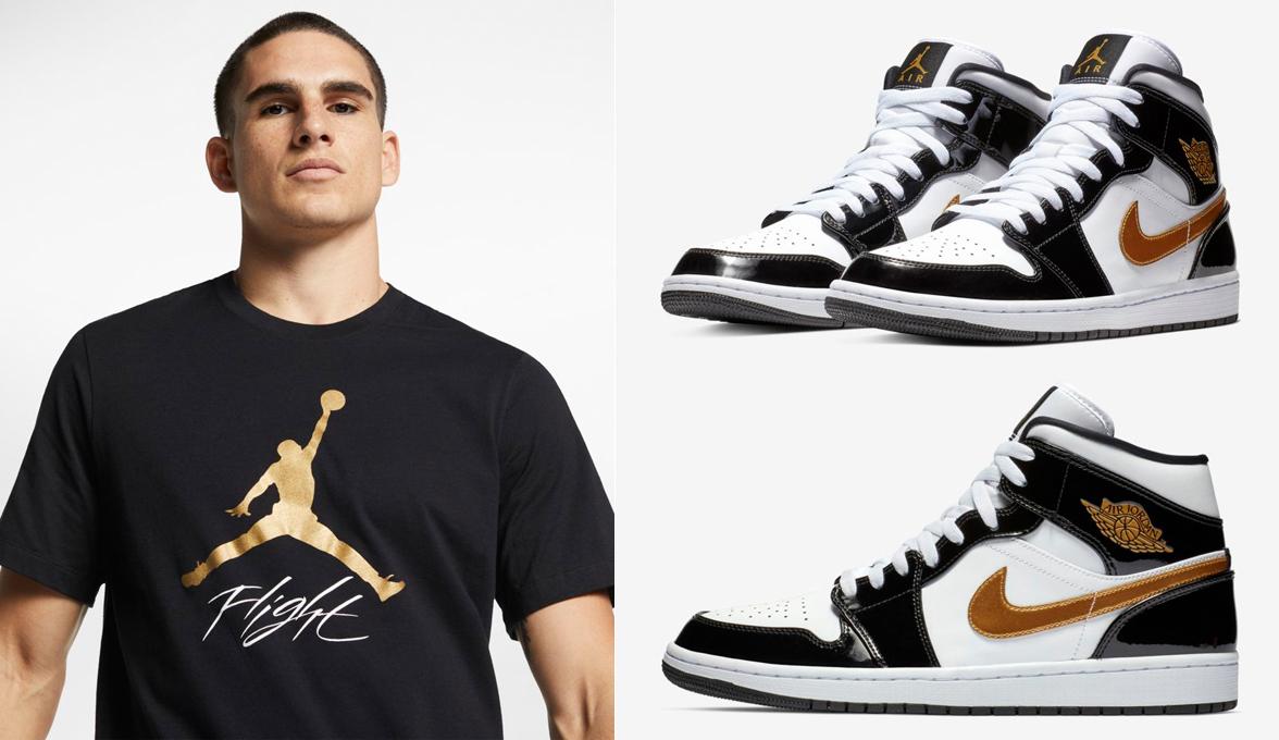 sports shoes 8dde8 d3329 jordan-1-mid-black-gold-patent-shirt