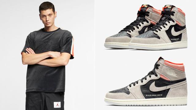 """ff4e1e7a0a80c7 Air Jordan 1 Retro High OG """"Neutral Grey"""" x Jordan Gold Chain Short-Sleeve  Top"""