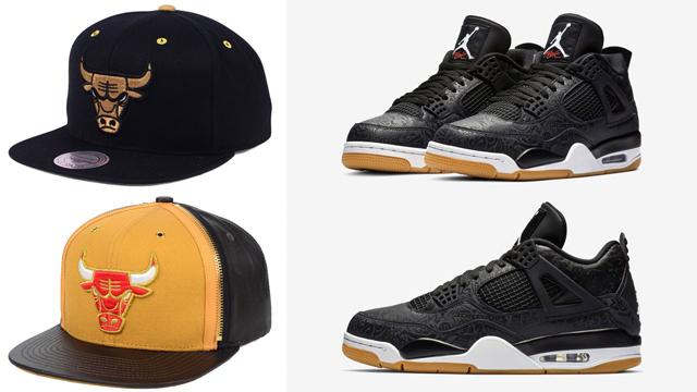 "6eebd95d899 Chicago Bulls Mitchell   Ness Hats to Match the Air Jordan 4 ""Black Laser"""