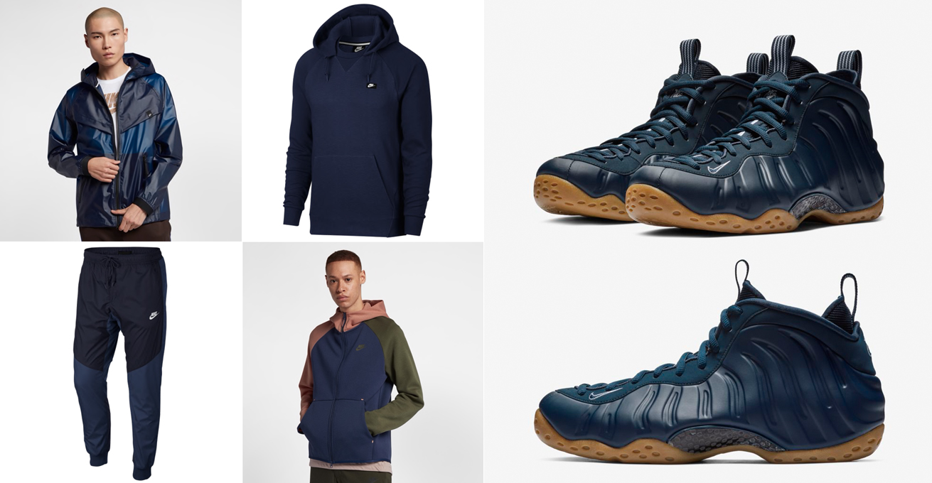best cheap d411c 33a5e Nike Foamposite Navy Gum Clothing Match | SneakerFits.com
