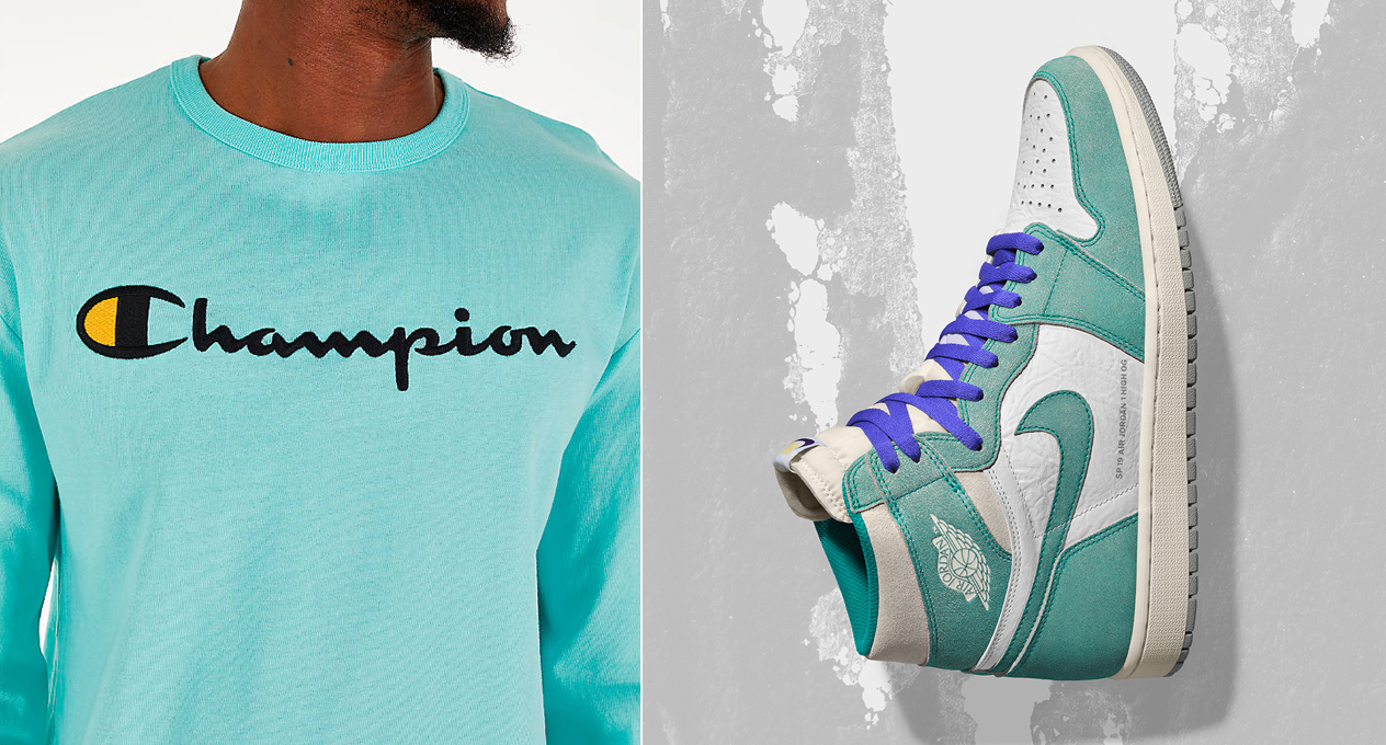 b821dac8555 Jordan 1 Turbo Green x Champion Clothing | SneakerFits.com