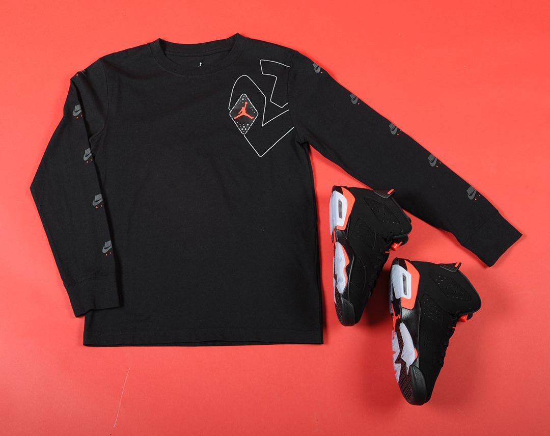ce45dc182a3cc0 air-jordan-6-black-infrared-kids-shirt-shoes