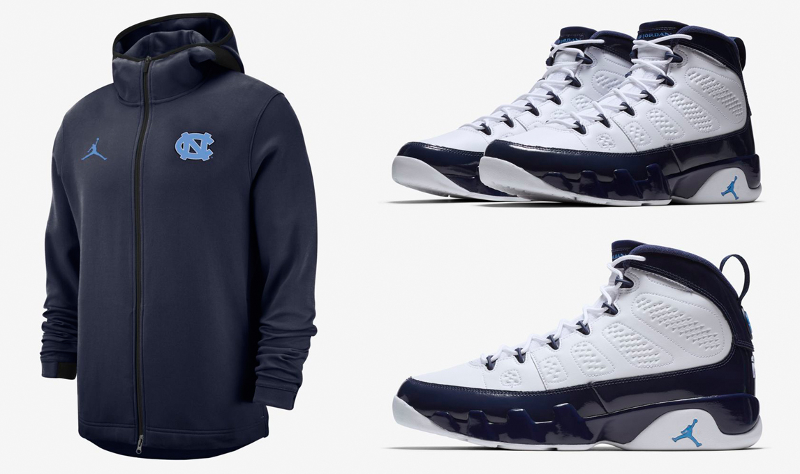"huge discount fb50c 11247 Air Jordan 9 ""UNC"" x Jordan North Carolina Showtime Dri-FIT Full-Zip Hoodie"