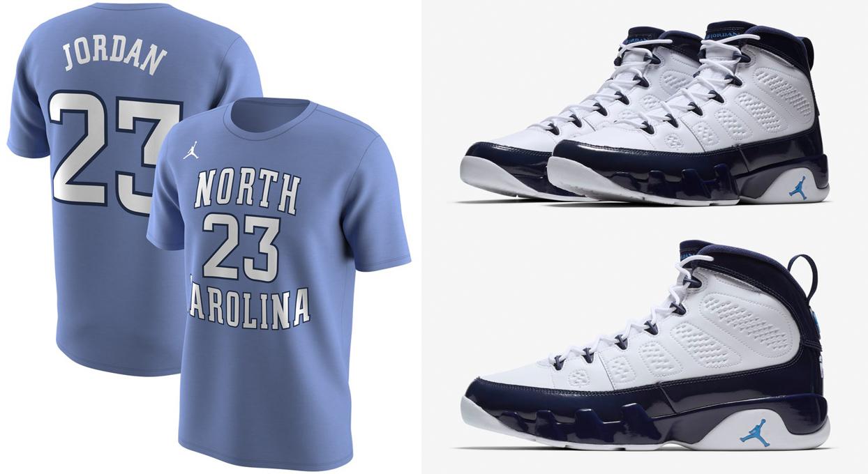 "ea949f3e57a Air Jordan 9 ""UNC"" x Michael Jordan North Carolina Tar Heels Jordan Brand  Future Stars Replica T-Shirt"