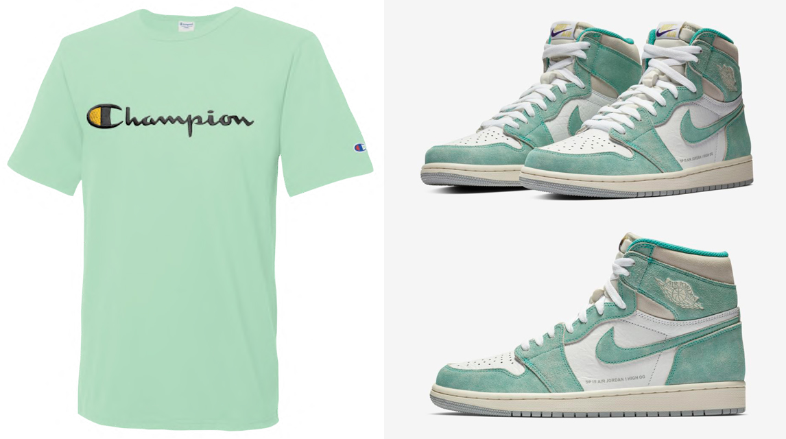 "e2f5dc3947da94 Air Jordan 1 ""Turbo Green"" x Champion T-Shirts"