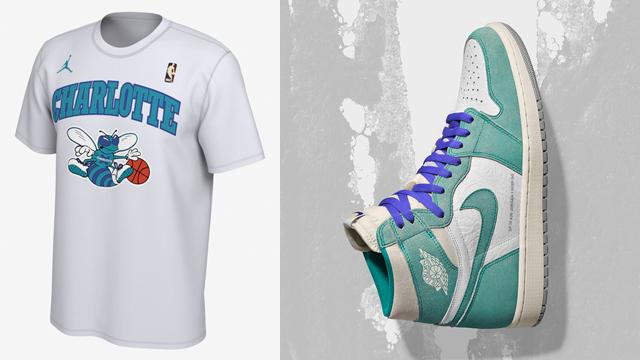 """68e1ce1d1144e3 Air Jordan 1 """"Turbo Green"""" x Charlotte Hornets Jordan Dri-FIT Retro NBA T- Shirt"""