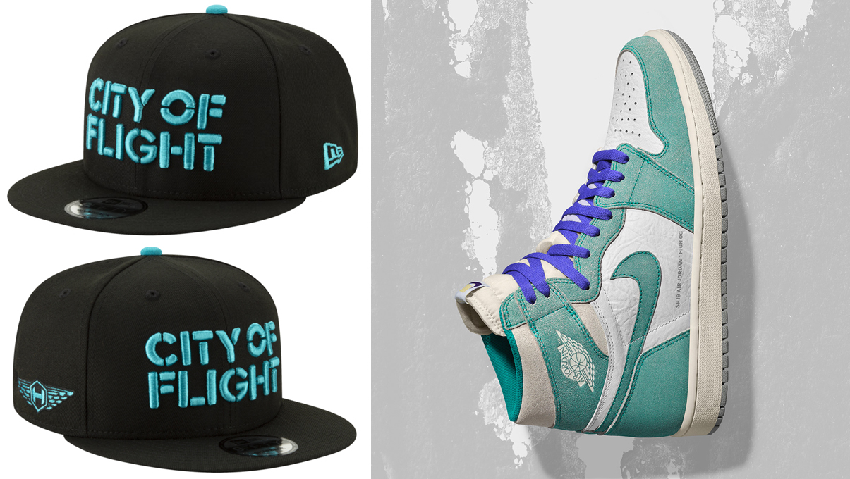 "e8526139fc0574 Air Jordan 1 ""Turbo Green"" x Charlotte Hornets New Era NBA ""City of Flight""  Snapback Hat"
