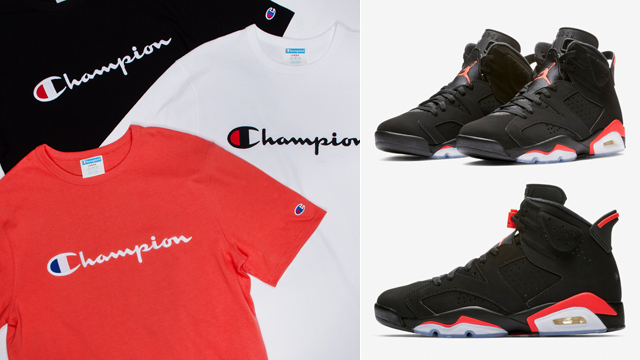 "126d53c4 Champion Heritage Script Embroidered T-Shirts to Match the Air Jordan 6  ""Black Infrared"""