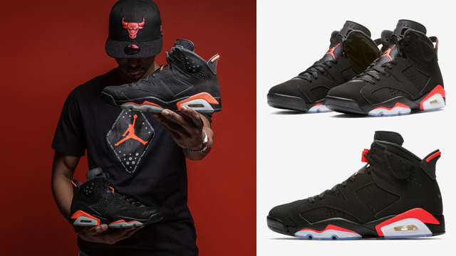 "c68613050b3f0 Air Jordan 6 ""Black Infrared"" x Jordan Retro 6 T-Shirt x New Era Chicago  Bulls Infrared Hook Hat"