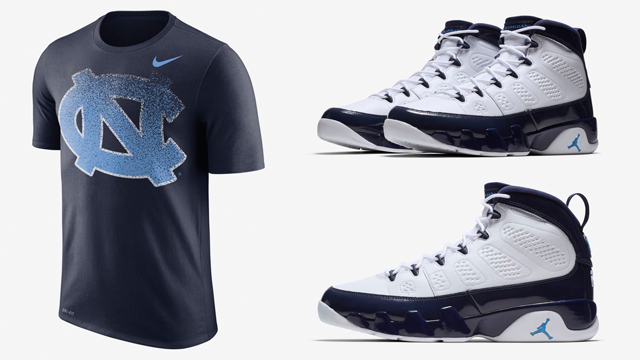 "newest 564b6 b623f Jordan and Nike North Carolina Tar Heels Shirts to Match the Air Jordan 9  ""UNC"""