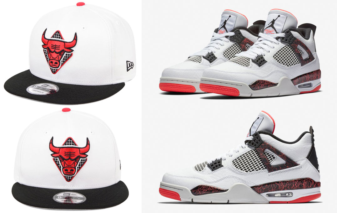 "4484b0c82faa Air Jordan 4 ""Hot Lava"" x Chicago Bulls New Era NBA Straight Firered Hook  9FIFTY Snapback Cap"