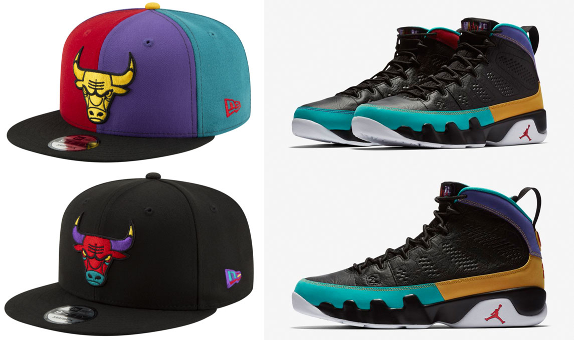 "da3bf8a04c89 Air Jordan 9 ""Dream It Do It"" x Chicago Bulls New Era 9FIFTY Nostalgia  Snapback Hats"
