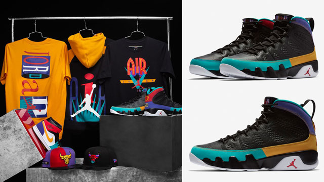 "c1c8f404af2 Along with the launch of the Air Jordan 9 ""Dream It Do It"" sneakers comes a  look at the complete Flight Nostalgia Collection that's available to match  the ..."