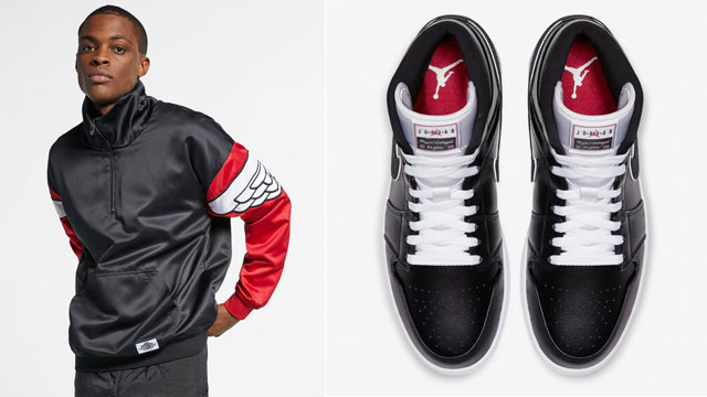 """Releasing alongside the Air Jordan 1 Mid """"Maybe I Destroyed the Game""""  sneakers is the Jordan Classic Wings Clothing Collection in black b90f47d02"""