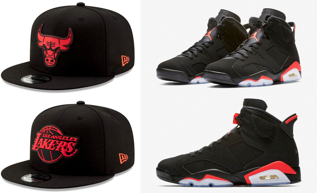 bd159ec1bb18a6 Jordan 6 Black Infrared New Era NBA Hats | SneakerFits.com