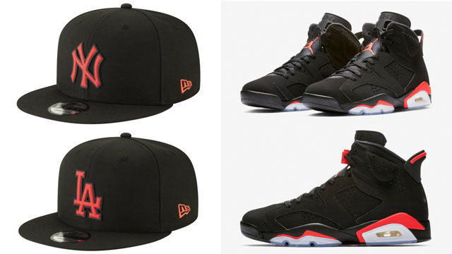 """New Era Infrared Neon Pop 9FIFTY MLB Snapback Caps to Match the Air Jordan  6 """"Black Infrared"""" d317aa454257"""