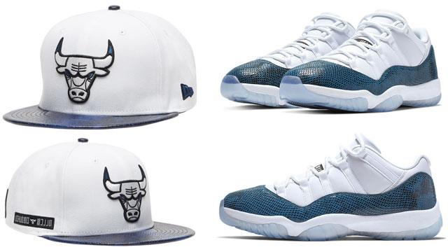 "70dbb3bbcbb Air Jordan 11 Low ""Navy Snakeskin"" x Chicago Bulls New Era Retro 11  Snakeskin Snapback Hat"