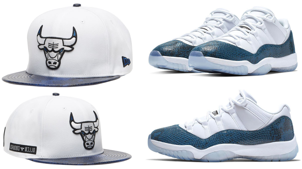 "promo code 1b0c9 825b7 Air Jordan 11 Low ""Navy Snakeskin"" x Chicago Bulls New Era Retro 11  Snakeskin Snapback Hat"