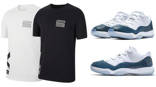 Air Jordan 11 Low Navy Snakeskin Shirt