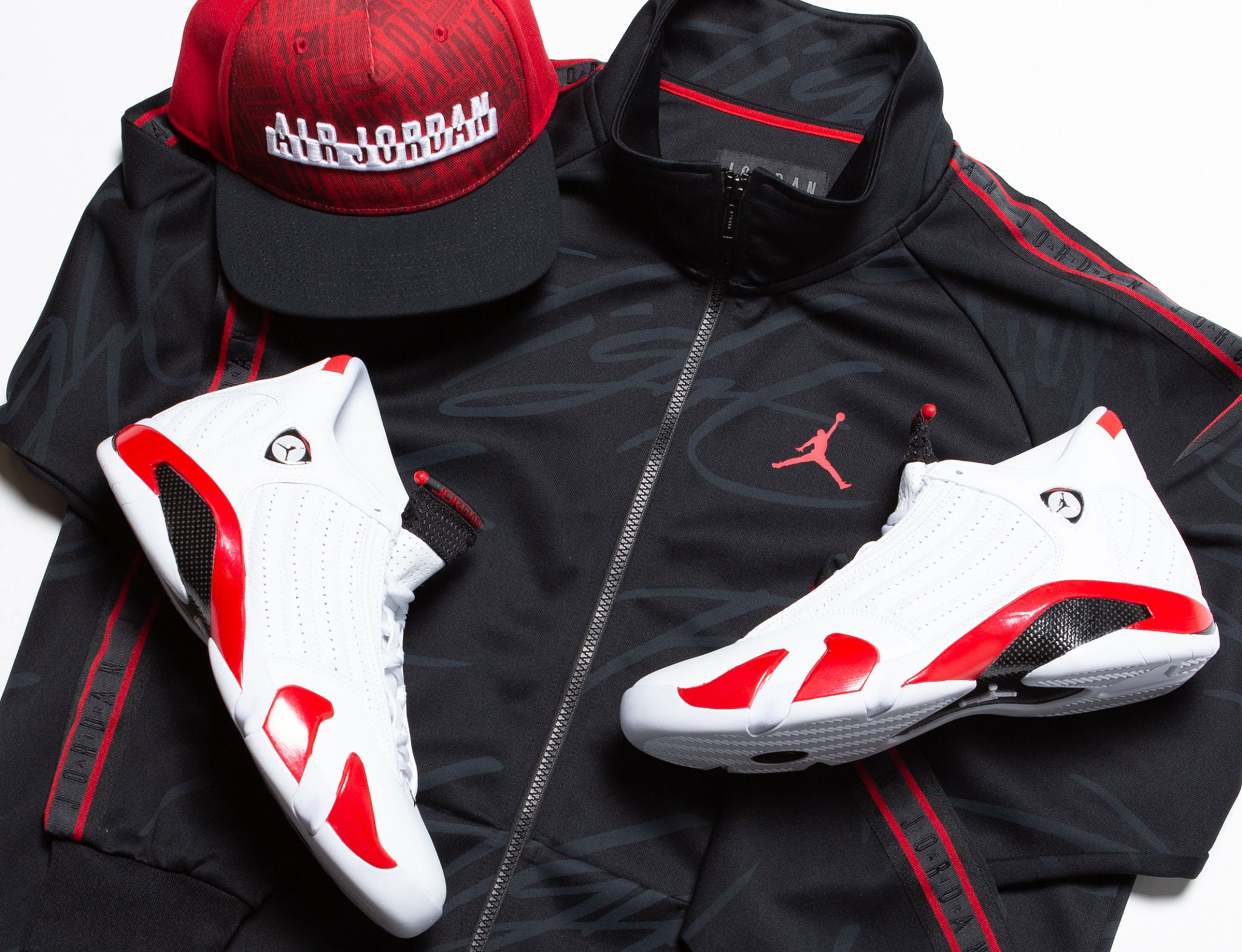 air-jordan-14-candy-cane-jacket-hat-match