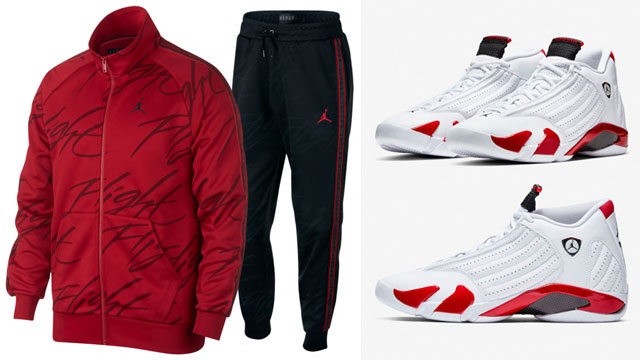 """bc97b56123792c New track suits from Jordan Brand have arrived right in time to match the Air  Jordan 14 """"Candy Cane"""" kicks with these Jordan Jumpman Tricot Jacket and  Pants ..."""