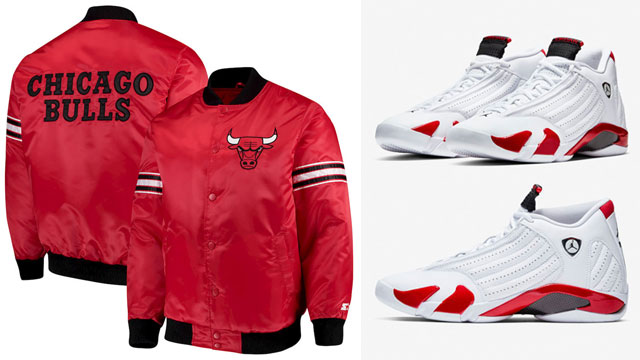 """297daa82e49ed1 Along with the April 6th release of Rip Hamilton s classic Air Jordan 14 """"Candy  Cane"""" kicks comes a look at three different Chicago Bulls Satin Jackets to  ..."""