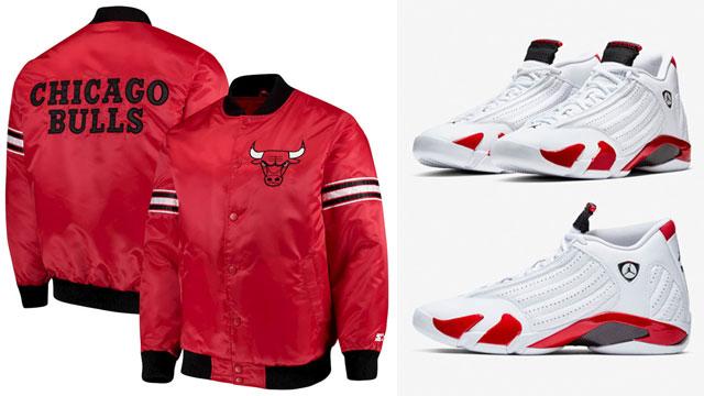 "c4d723a2108f Chicago Bulls Satin Jackets to Match the Air Jordan 14 ""Candy Cane"""